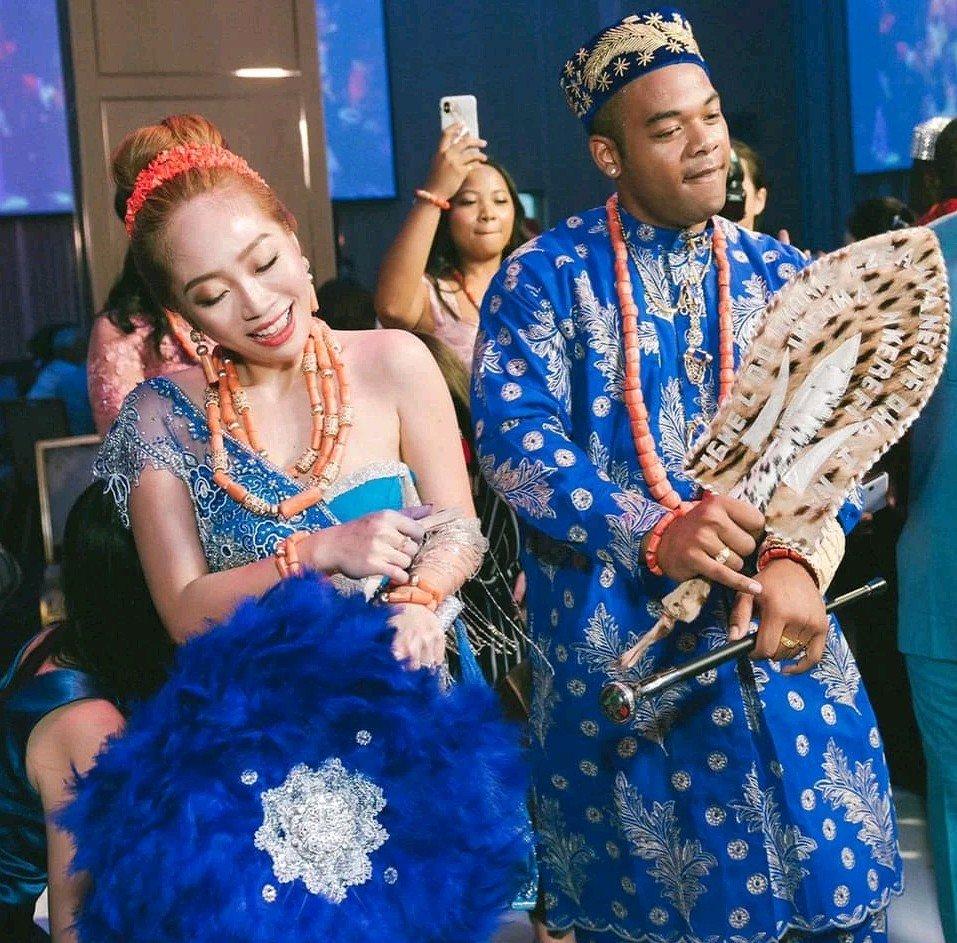 Nigerian man Weds his Taiwanese bride in Igbo traditional wedding (Photos)