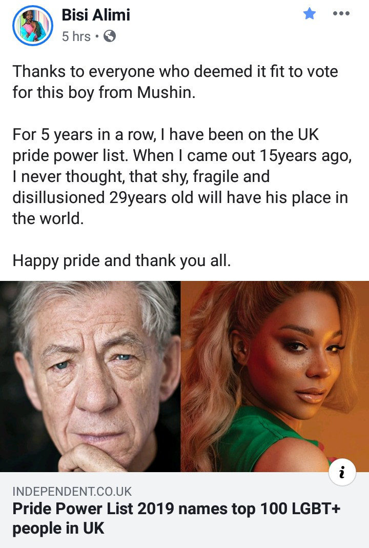 Bisi Alimi, Sir Ian McKellen, Edward Enninful make Pride Power list