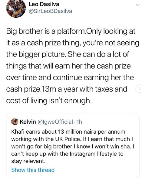 N13m is not a lot of money in UK - Leo Dasilva defends Khafi for putting her job on the line for BBNaija
