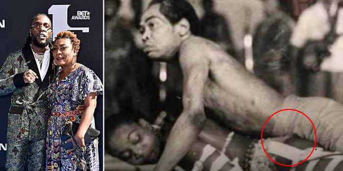 Photo Of Fela Rocking Burna Boy's Mother On Stage Surface