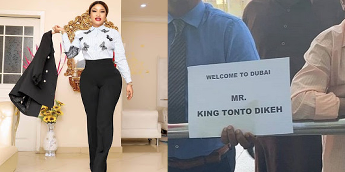 """Tonto Dikeh referred to as """"Mr King Tonto"""" on note welcoming her to Dubai"""