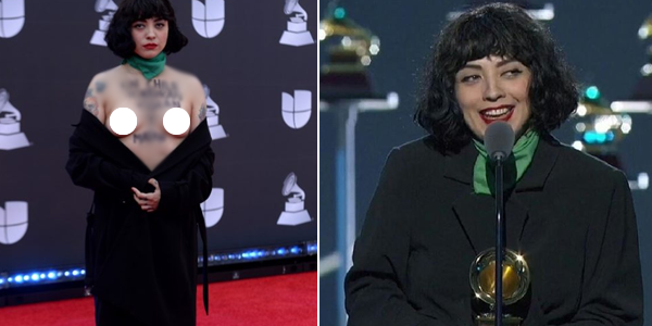 Chilean singer Mon Laferte shows her bare breasts as she goes topless on the Latin Grammys red carpet