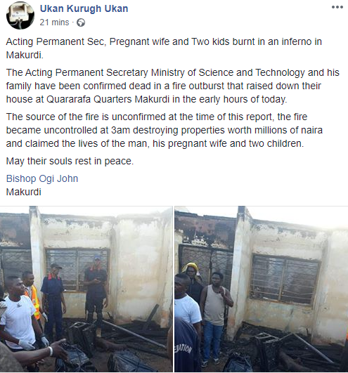 PHOTOS: Permanent Secretary, His Pregnant Wife And Two Kids Burnt To Death In Fire Outbreak 7