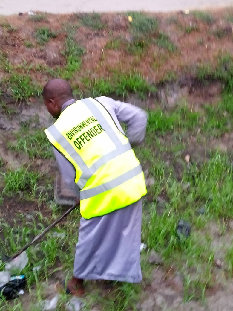 Environmental offenders undergoing punishment (community labour) in Lagos state