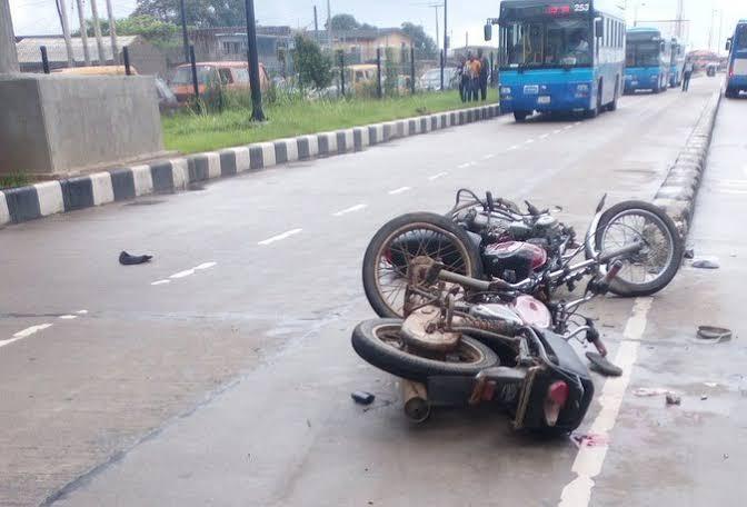 Scene of Okada accident in lagos