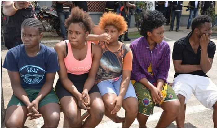 Filed photo of Nigerians being paraded for prostitution
