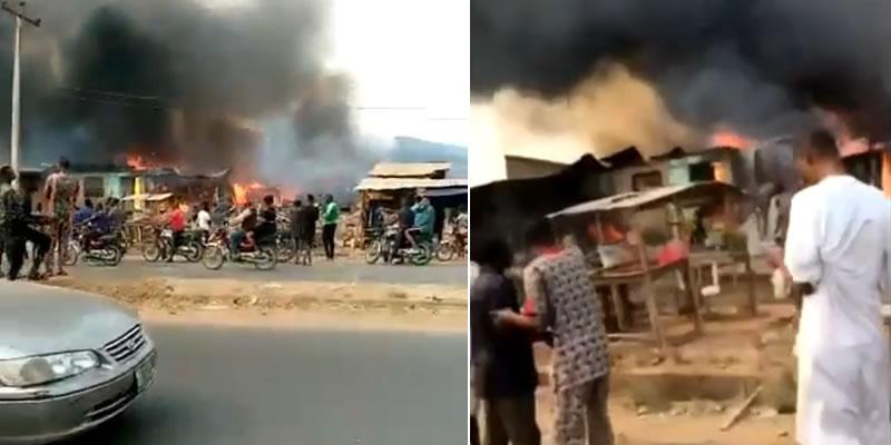 Scene of fire outbreak along along Akala express road in Ibadan
