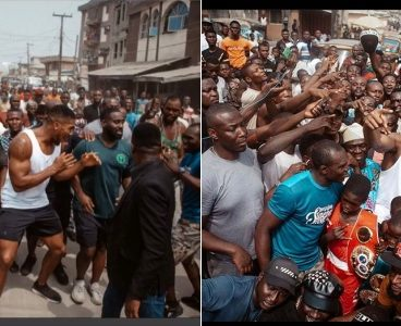 Anthony Joshua takes his belts to the streets of Makoko in Lagos