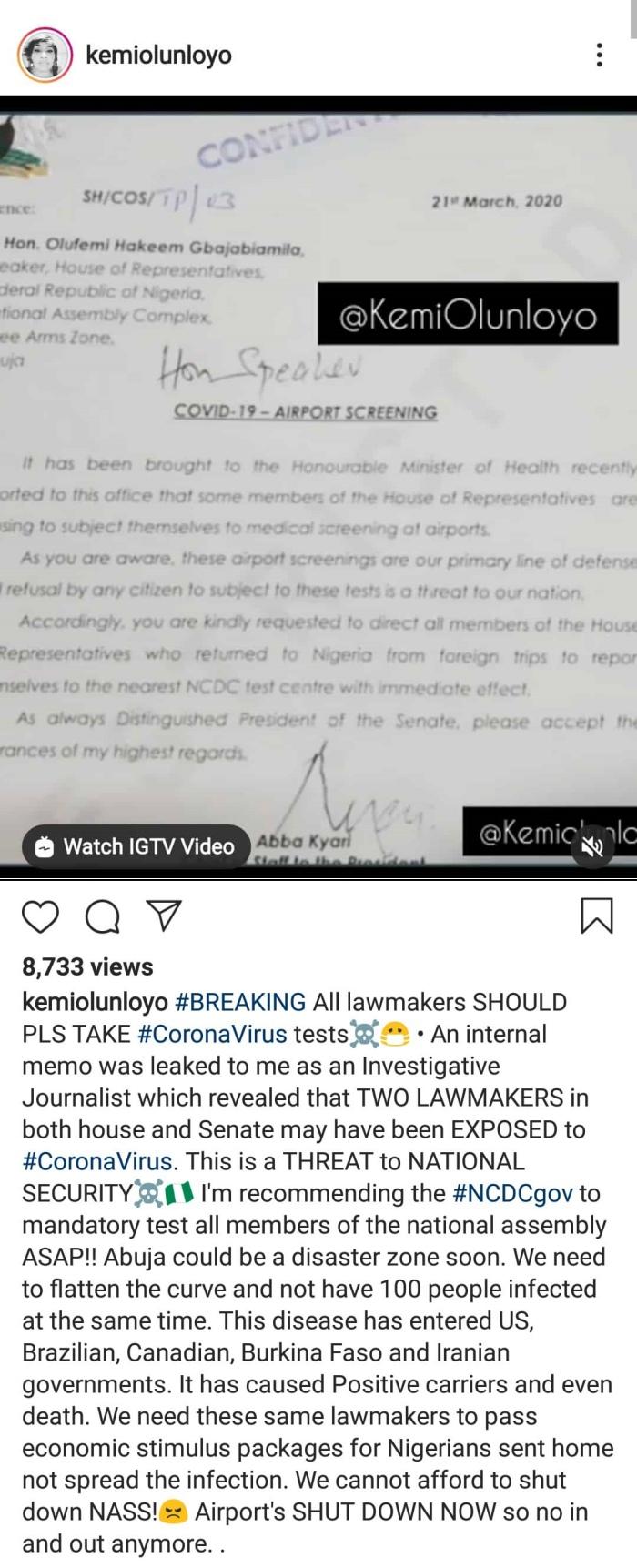 "Coronavirus: ""Abuja could be a disaster zone soon"", Kemi Olunloyo says"