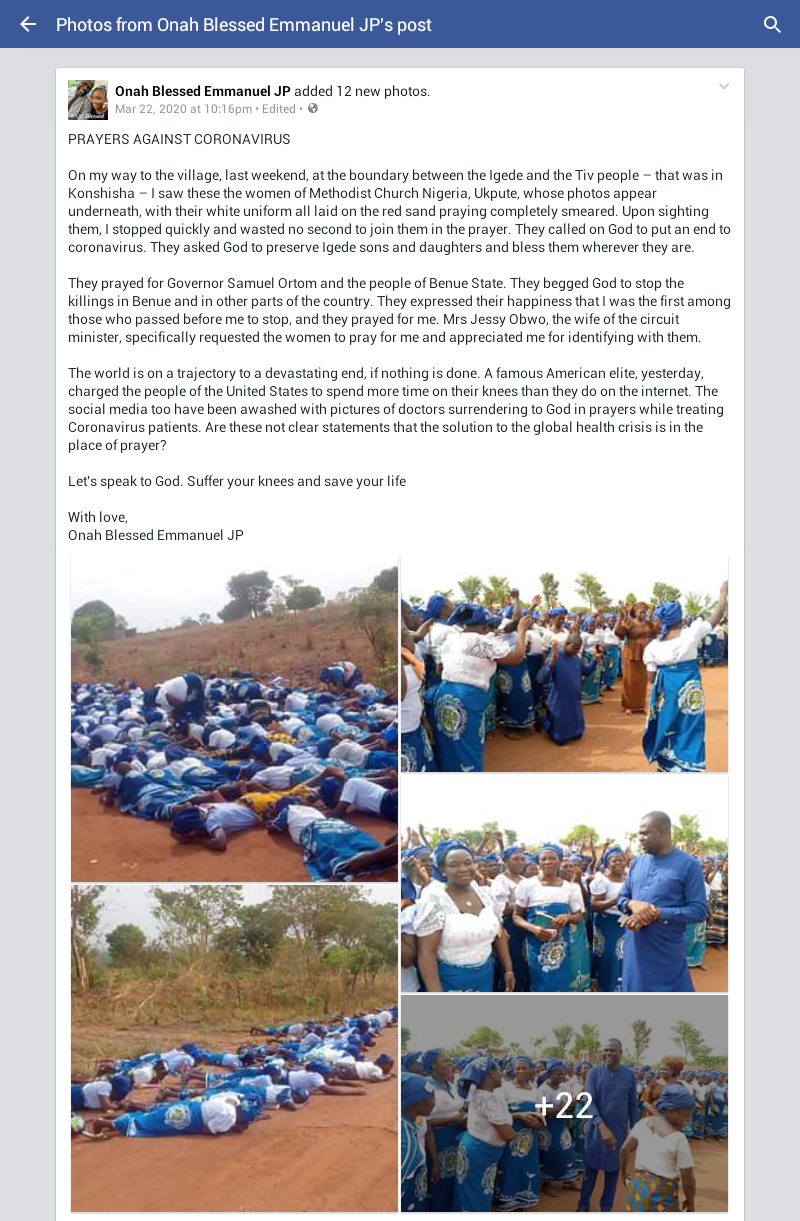 Group of church women spotted lying on the road in Benue, praying against Coronavirus