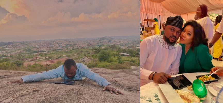 Toyin Abraham's husband, Kolawole Ajeyemi goes to the mountain top to pray against coronavirus