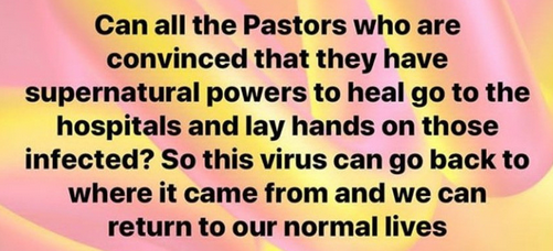 Uche Elendu disagrees with Hilda Dokubo call for pastors to prove themselves by healing Coronavirus patients