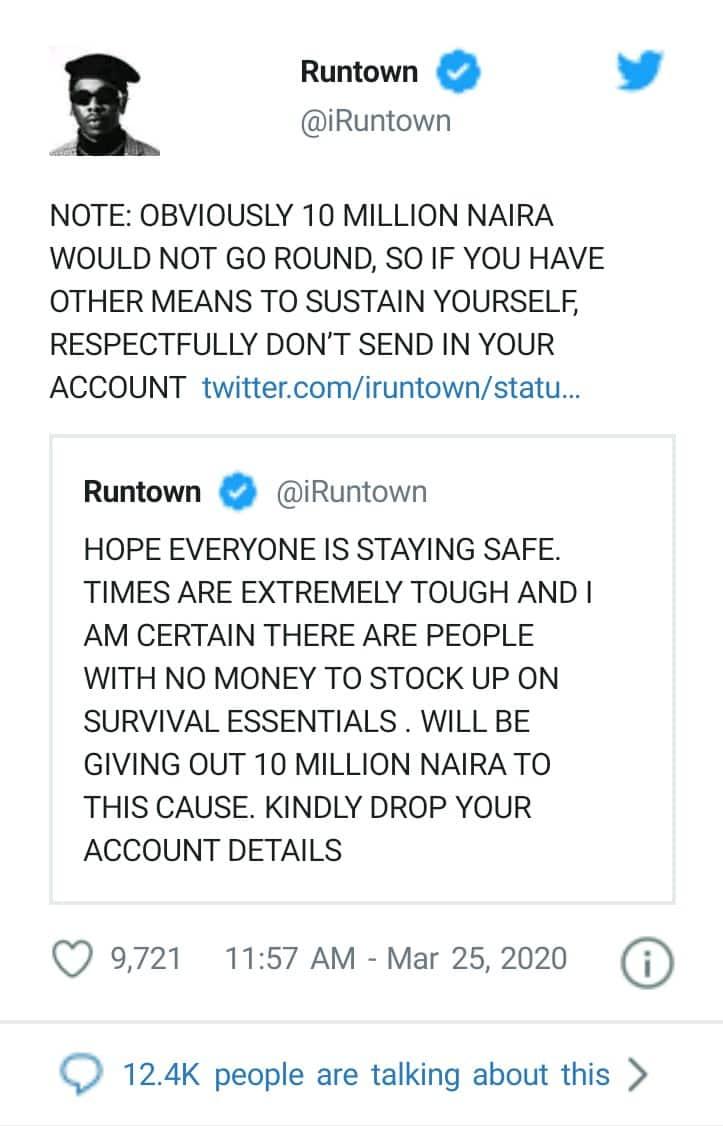 Coronavirus: Runtown To Gift 10M To Nigerians As Total Lockdown Looms