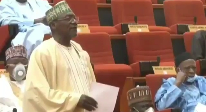 Moment a Nigerian Senator removed his face mask to sneeze during plenary