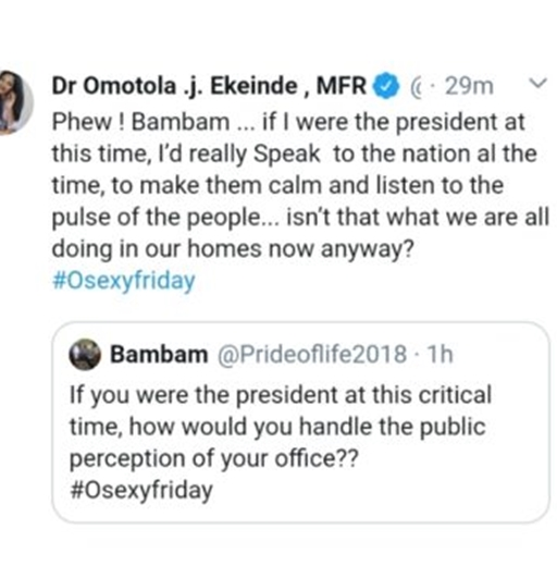 Covid19: Omotola Ekeinde reveals what she will do if she was the President
