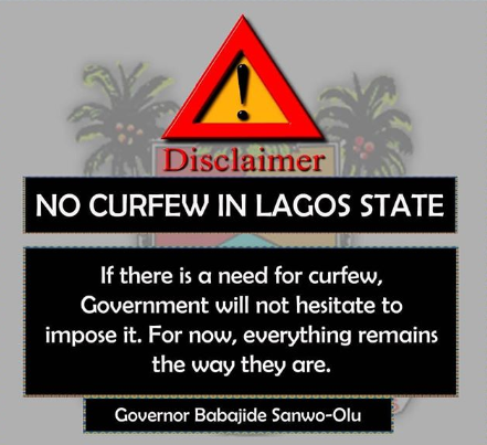 Lagos state government debunks rumor of curfew in the state