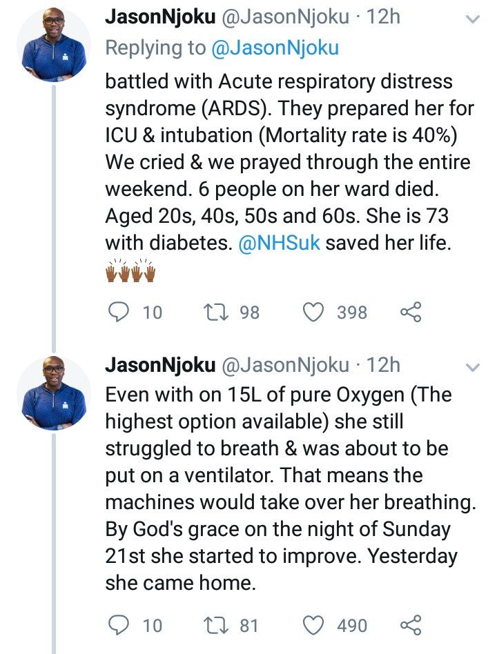 Jason Njoku narrates how his 73-year-old mother almost died from coronavirus
