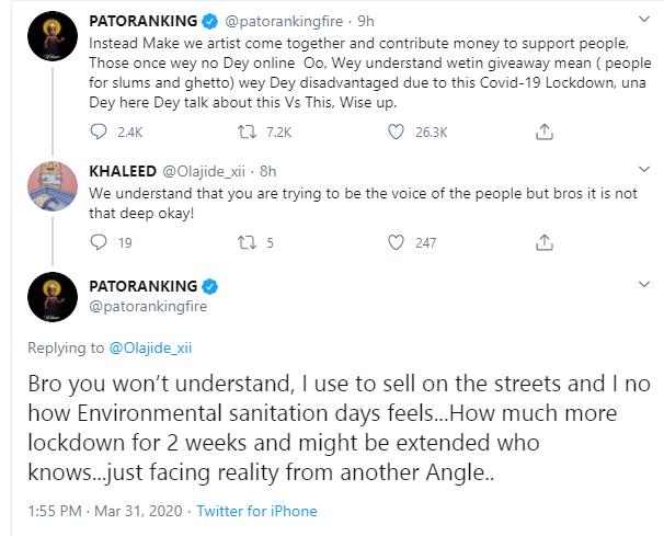 COVID-19: We should be helping people offline, Patoranking tackles colleagues doing giveaways online