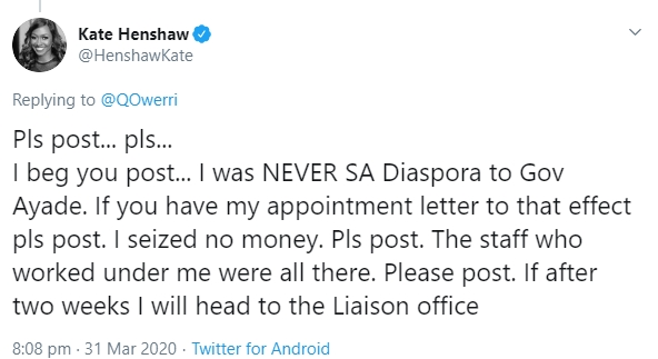 Twitter user accuse Kate Henshaw of money laundering, she response
