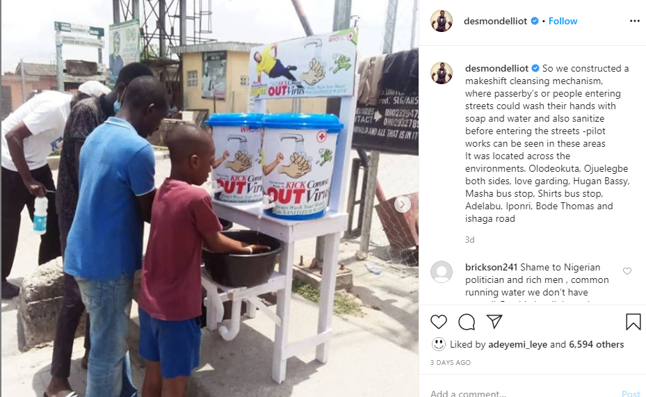Coronavirus: Actor Desmond Elliot blasted over his 'makeshift cleansing' project