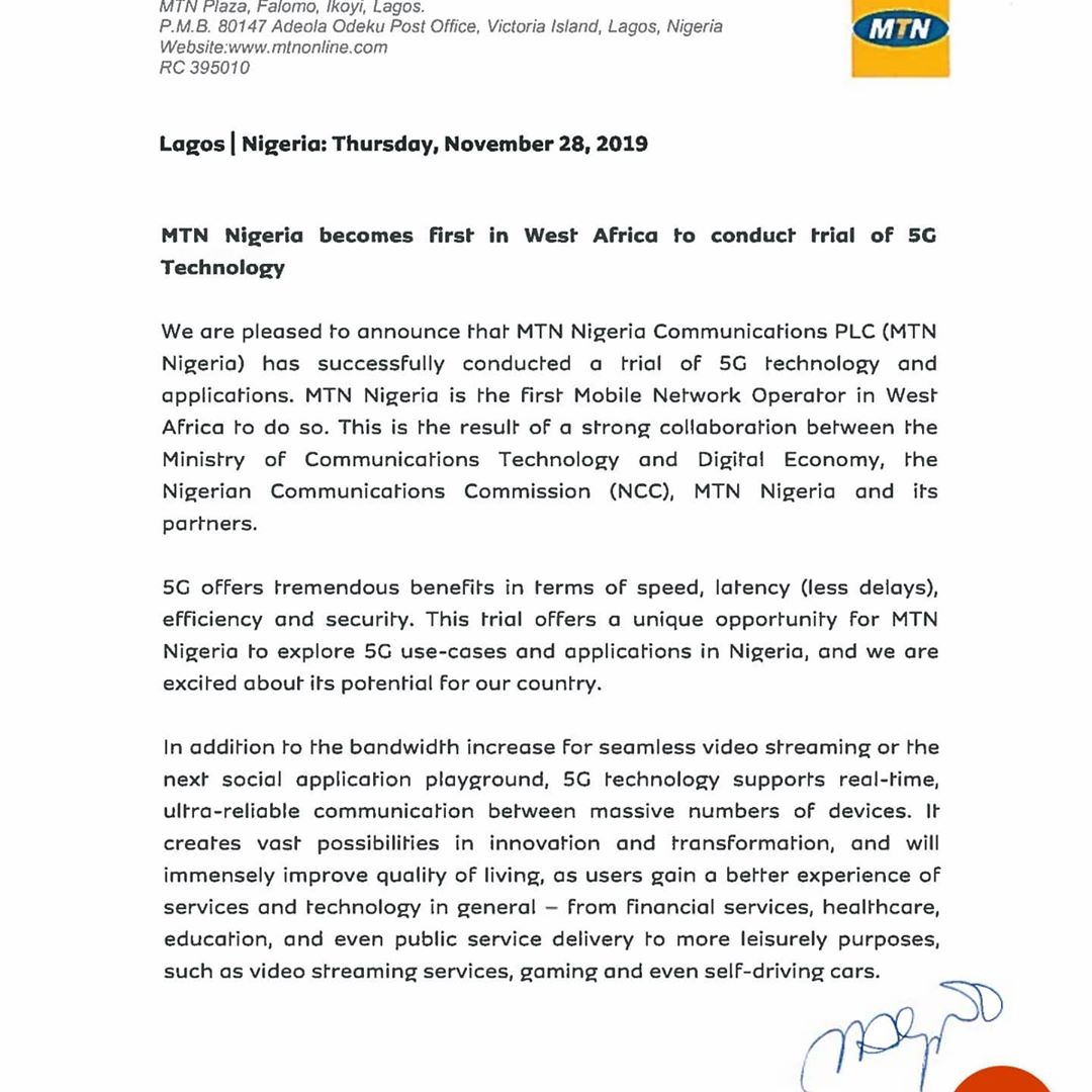 MTN Nigeria tested 5G in Nigeria without license