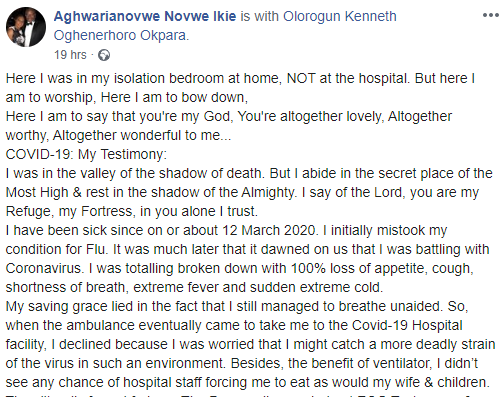 Nigerian man diagnosed with Coronavirus in the UK, shares his near-death experience as he recuperates