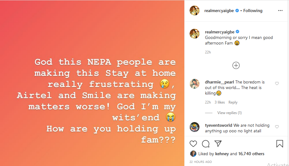Lockdown: Mercy Aigbe laments over power outage