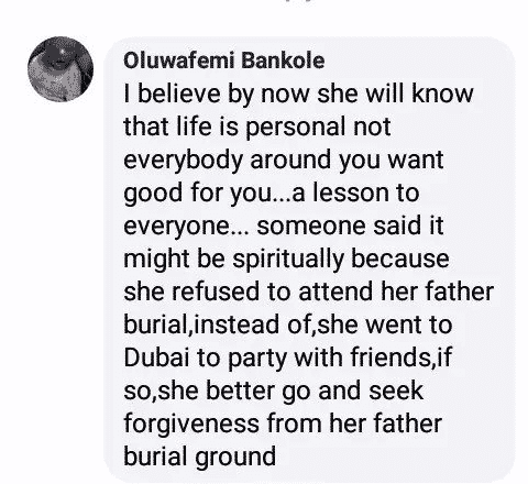 'Funke Akindele is suffering the consequence of not attending her late father's burial', Man claims