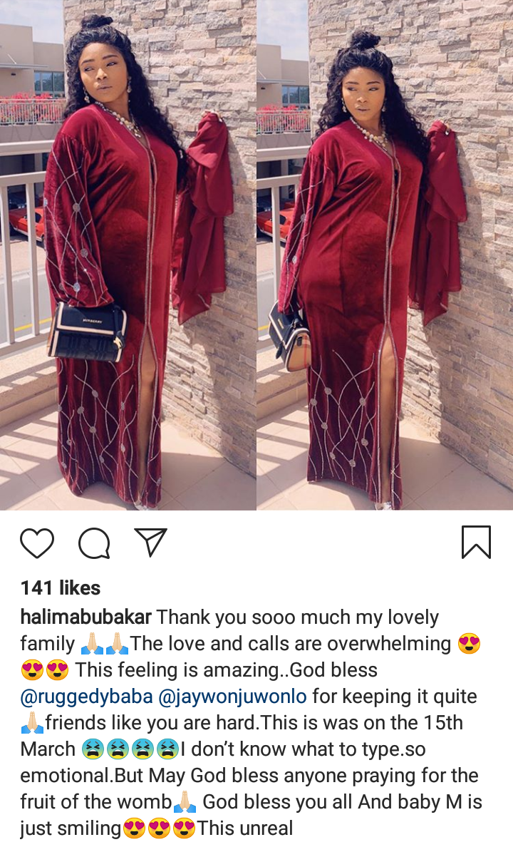 Halima Abubakar Posts Baby Bump Photo And Appreciates Those Who Kept Her Pregnancy A Secret...