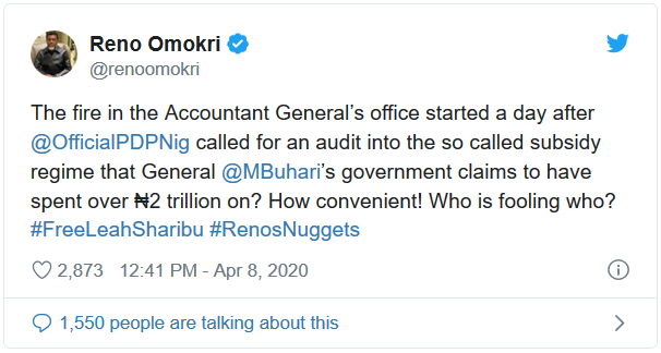 Reno Omokri reacts to the fire outbreak at Accountant Generals office