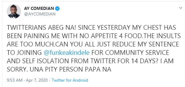 The insults are too much, AY begs Nigerians after being dragged over Funke Akindele
