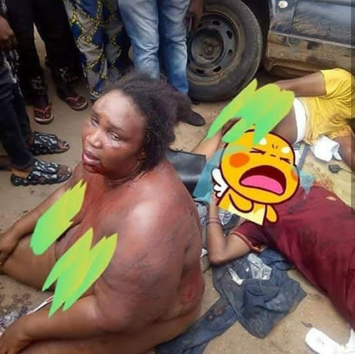 Female robber and accomplices stripped and disgraced after robbing along Benin-Auchi road