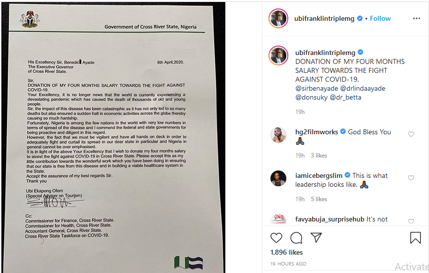 Ubi Franklin donates four months salary to help Cross Rivers battle COVID-19