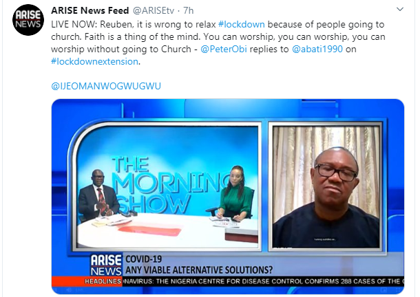 It's wrong to relax lockdown for religious reasons, Peter Obi says
