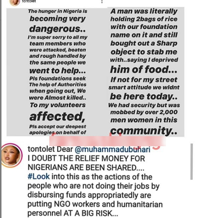 Nollywood actress, Tonto Dikeh narrates how she was stabbed by a hungry man during her giveaway on the streets