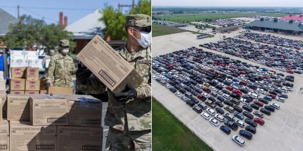 Coronavirus: 10,000 families queue for free food in Texas