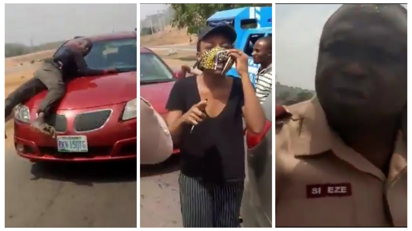 VIDEO: Policeman spotted on bonnet of speeding vehicle of a lady who refused to stop for security operatives