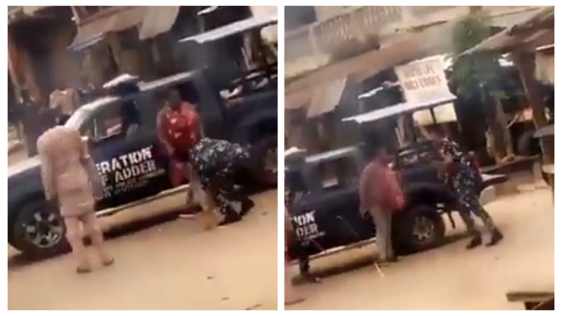 VIDEO: Police officers flog mother of two for allegedly violating Lockdown to buy drugs in Osun