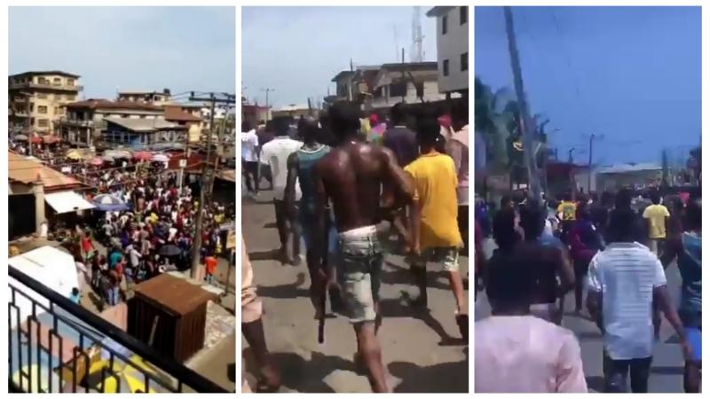 Coronavirus lockdown: Mushin residents march towards Ilupeju to take on One million boys (VIDEOS)