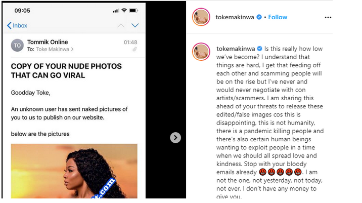 Toke Makinwa leaks her 'nudes' after fraudster tried to blackmail her