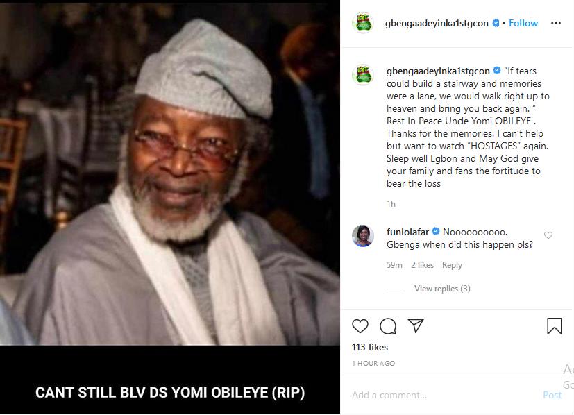 Nollywood loses veteran actor, Yomi Obileye