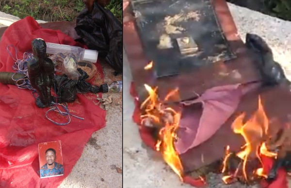 VIDEO: Moment a bag containing a man's photo, moulded image and voodoo items were forgotten in a Keke Napep