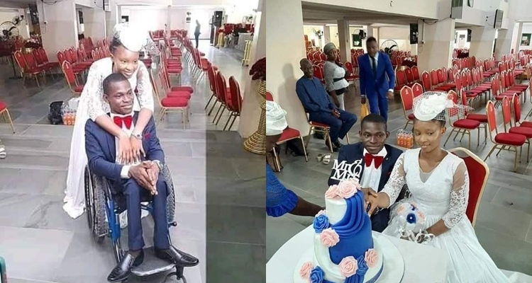 Nigerians react as a young lady marries a disabled man