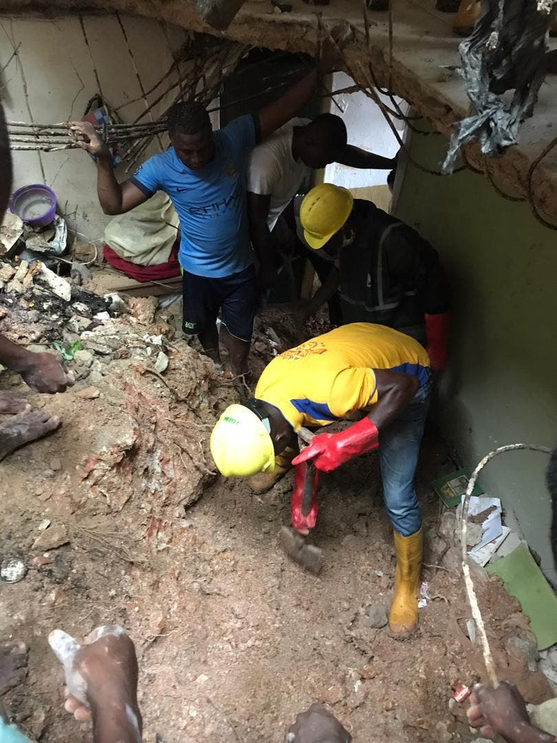 PHOTOS: Two die as storey building collapses in Lagos