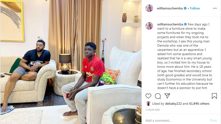 Williams Uchemba adopts son, to sponsor his education