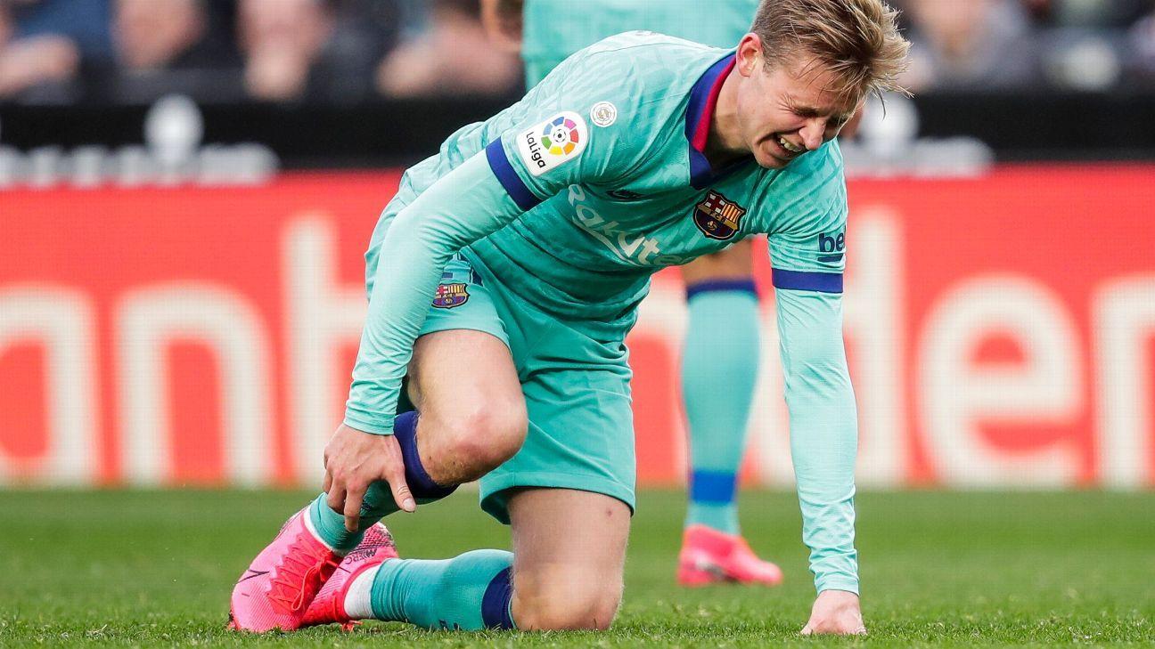 Barcelona's star, Frenkie De Jong suffers calf injury