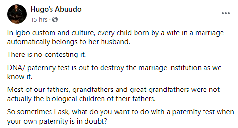 Igbo man condemns DNA test, says it's not cultural