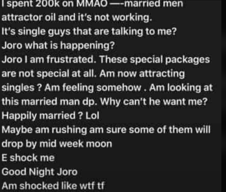"""I spent N200k on special package yet married men are not approaching me"", Nigerian lady cries"
