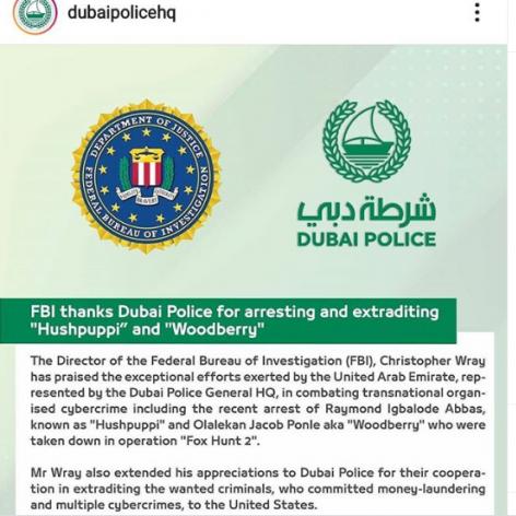 ATLAST! Dubai Police extradite Hushpuppi, Woodberry to US