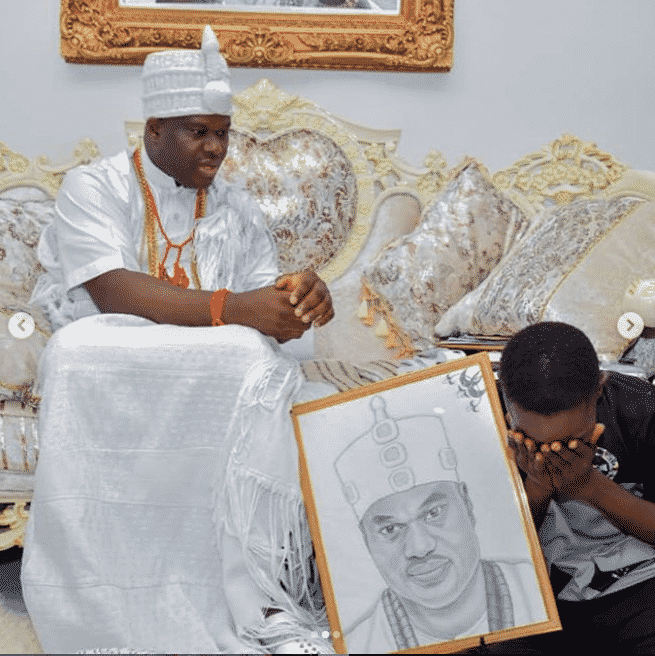 Ooni of Ife adopts and gives scholarship to boy who drew his portrait